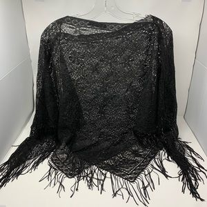 Accessories - Black Lace triangle Shawl with Fringe